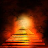stock photo of stairway to heaven  - Staircase leading to heaven or hell - JPG