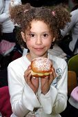 Girl With Sufgania On Hanukkah