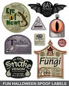 Fun Halloween Spoof Vector Labels.  Bring a smile to your Halloween party with these great unique la