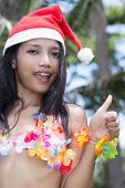foto of hula dancer  - hawaii hula dancer posing on the beach - JPG