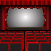 A  illustration of a cinema or theatre with red upholstery and fittings, with a screen and room for