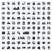 image of logistics  - vector black logistic and shipping icon set - JPG