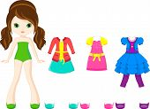 stock photo of bolero  - Paper doll with a set of clothes for school - JPG