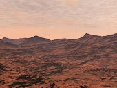 image of lithosphere  - Red desert and clouds to illustrate Mars landscape - JPG
