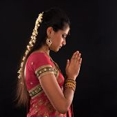 image of sari  - Portrait of beautiful young Indian woman prayer in traditional sari dress - JPG