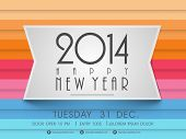 picture of beautiful horses  - Happy New Year 2014 colorful celebration party poster - JPG