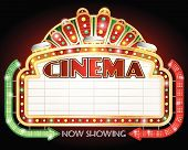 foto of lightbulb  - illustration of a Cinema sign with two arrows - JPG