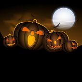 stock photo of moonlight  - Halloween moonlight night background with scary pumpkins - JPG