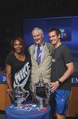 US Open 2012 champions Serena Williams and Andy Murray with USTA Executive Director Gordon Smith