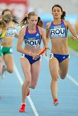 BARCELONA - JULY, 14: Bianca Razor(L) and Roxana Ene(R) of Romania competes on 4X400 Relay of the 20
