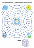 picture of spaceships  - Maze game or activity page for kids - JPG