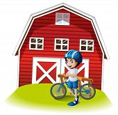 stock photo of farmhouse  - Illustration of a boy with a bike standing in front of the farmhouse on a white background - JPG