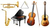 pic of trombone  - Illustration of the set of musical instruments on a white background - JPG