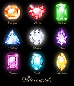 stock photo of gem  - Collection of sparkling gems isolated on black background - JPG