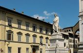 stock photo of alighieri  - Dante Alighieri memorial statue in Piazza Santa Croce - JPG