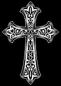 stock photo of carving  - fully editable vector illustration of ornate cross - JPG