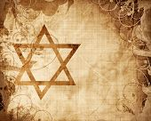 picture of israel israeli jew jewish  - star of david printed on a grunge paper texture - JPG