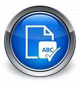 Spell Check Document Abc Icon Glossy Blue Button