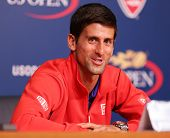 Seven times Grand Slam champion Novak Djokovic  during press conference