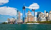 picture of freedom tower  - New York City skyline at afternoon w the Freedom tower - JPG