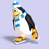 foto of growler  - male toon penguin with hat and scarf and clipping path - JPG