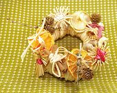 stock photo of figurines  - Christmas straw wreath decoration  - JPG