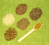 pic of fenugreek  - Set of spices on green leaf - JPG