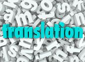 stock photo of interpreter  - The word Translation on a background of 3d letters to illustrate translating - JPG