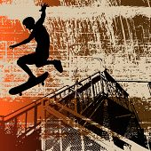 foto of skate board  - Background grunge illustration of a boy with skateboard over an urban landscape - JPG