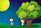 stock photo of playmate  - Illustration of a girl and a boy playing under the bright fullmoon - JPG