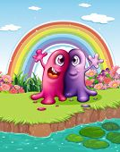 Illustration of the two monsters at the riverbank with a rainbow in the sky
