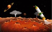 pic of outerspace  - Illustration of a rocket in the outerspace - JPG
