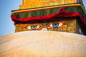 Close-up Buddha Eyes of Bodhnath Stupa in Kathmandu.