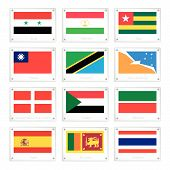 foto of tierra  - National Flags of Syria Tajikistan Togo Taiwan Tanzania Tierra del Fuego Sovereign Military Order of Malta Sudan Tatarstan Spain Sri Lanka and Thailand on Metal Texture Plates - JPG