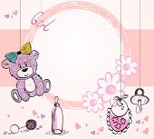 stock photo of baby bear  - Cute hand drawn  frame with baby elements - JPG