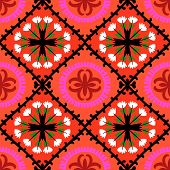 Suzani pattern with Uzbek and Kazakh motifs