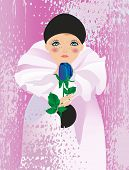 pic of clown rose  - the composition of the boy in the role of Pierrot on a purple background - JPG
