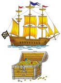 picture of pirate ship  - High resolution clip - JPG