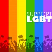 foto of transgendered  - illustration of people showing LGBT support in rainbow color background - JPG