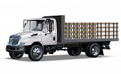 stock photo of tractor-trailer  - Flatbed truck Available EPS - JPG