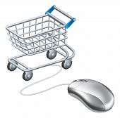 stock photo of mouse  - Online shopping cart mouse concept a mouse connected to a shopping trolley concept for online shopping - JPG
