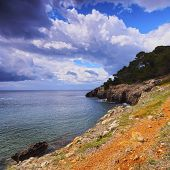 stock photo of tomas  - Southern Coastline between Sant Tomas and Cala Galdana on Menorca Balearic Islands Spain - JPG