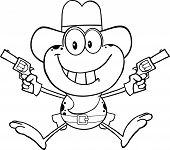 Black And White Cowboy Frog Character Holding Up Two Revolvers