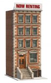 foto of brownstone  - Brownstone apartment building on a white background - JPG