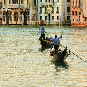 Venice, Italy, Grand Canal and gondolas