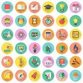 foto of physical education  - Set of  modern flat round icons of school subjects in colored circles with long shadows - JPG