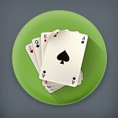 Playing Cards, long shadow vector icon