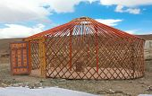 foto of yurt  - The construction of the yurt in the steppes of Mongolia - JPG