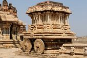 stock photo of charioteer  - Vittalla temple in Hampi Chariot Karnataka India - JPG