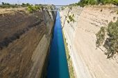 Canal water passage of Corinthos in Europe, Greece poster